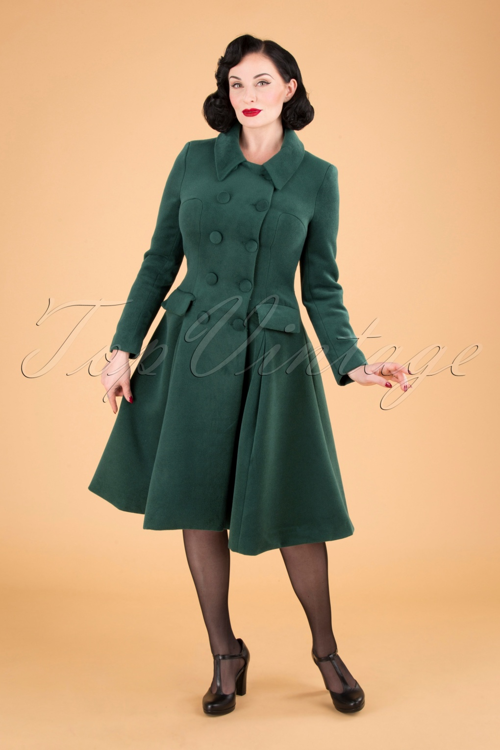 Vintage Coats & Jackets | Retro Coats and Jackets 50s Evelyn Swing Coat in Green £65.59 AT vintagedancer.com