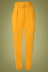 Closet London Dorris Trousers Années 60 en Jaune Moutarde