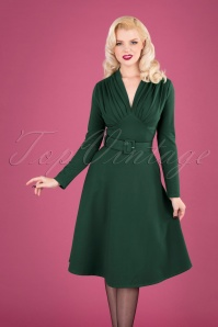 50s Claudia Swing Dress in Forest Green