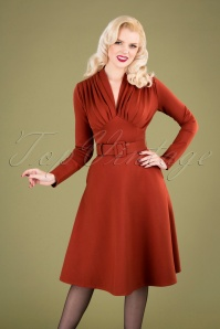 Claudia Swing Dress Années 50 en Cannelle