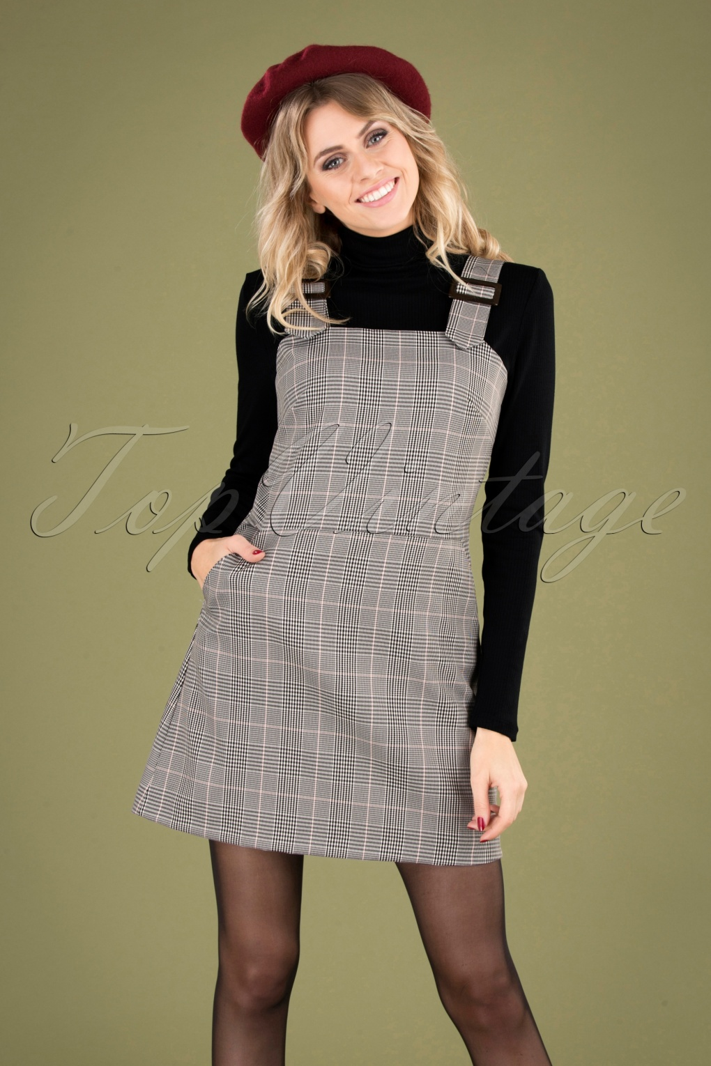 Retro Skirts: Vintage, Pencil, Circle, & Plus Sizes 60s Pic Nic Pinafore Tartan Dress in Black and White £80.19 AT vintagedancer.com