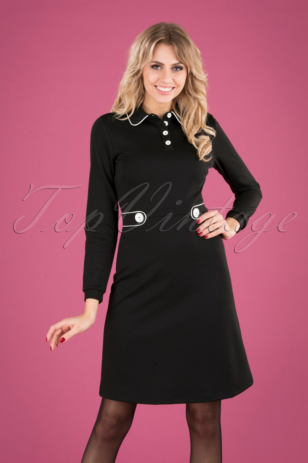 1960s Style Dresses, Clothing, Shoes UK 60s There She Goes Dress in Black £62.47 AT vintagedancer.com