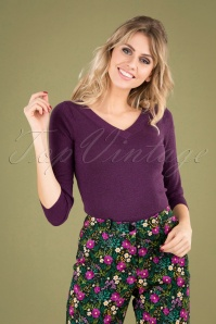 50s Double V Neck Top in Sparkling Purple