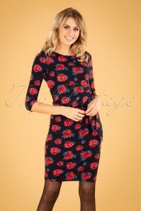 Lien & Giel 29972 Pencil Dress in Black Flower Print 20190917 040MW