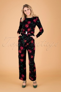 Mademoiselle Yeye 29604 Perfect Moments Jumpsuit Black Red Roses Green 20190726 040MW