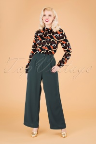 40s Sylvia Trousers in Dark Green