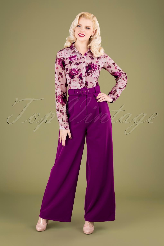 60s – 70s Pants, Jeans, Hippie, Bell Bottoms, Jumpsuits 60s Rosabella Floral Jumpsuit in Purple £88.89 AT vintagedancer.com