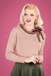 50s Bow Neck Crew Sweater in Pale Pink