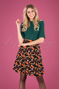 60s Roxi Retro Skirt in Navy and Orange