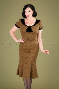 Stop Staring 31093 Pencil Dress Brown Black Polka Dot 190918 040MW
