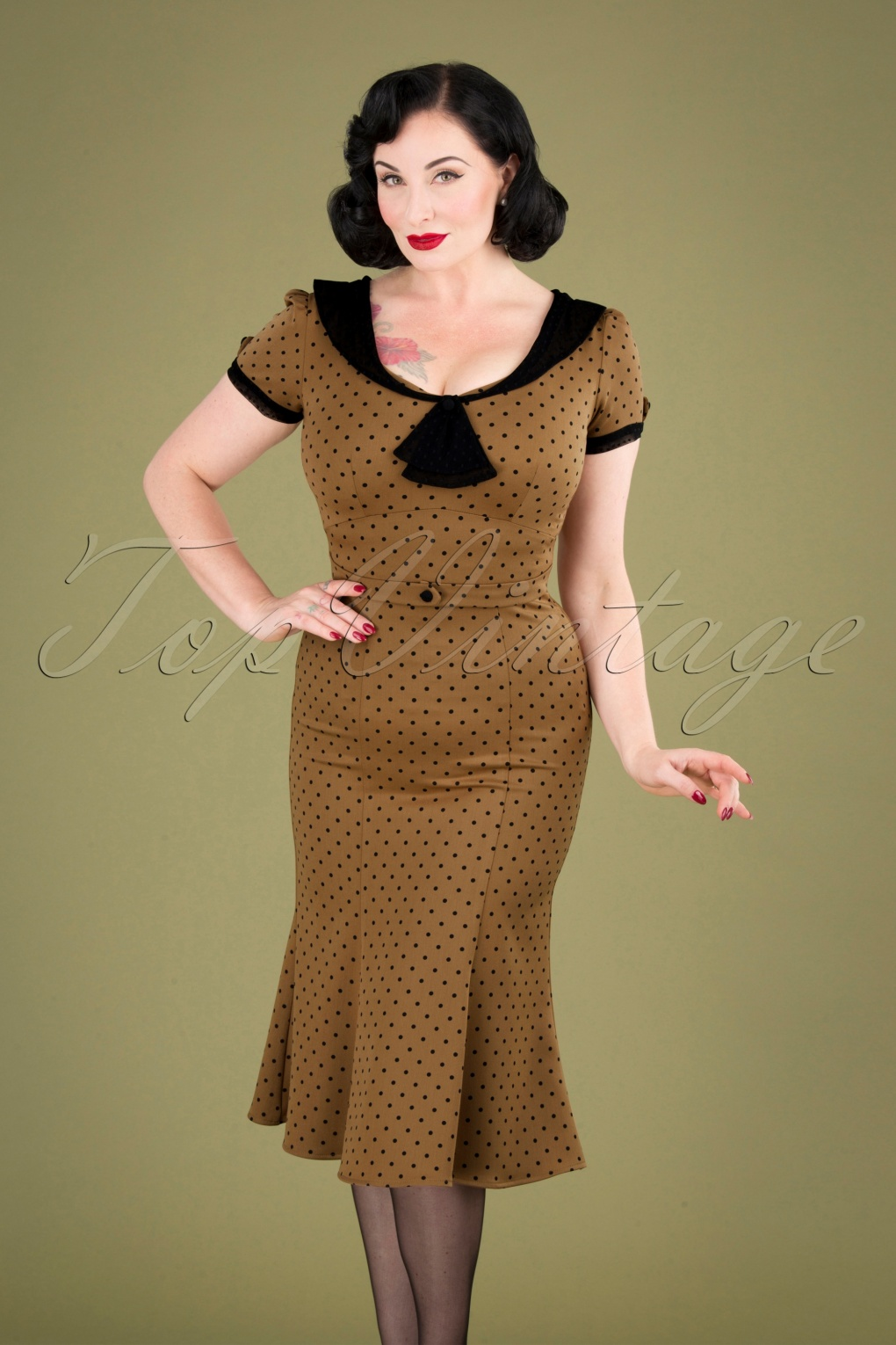 500 Vintage Style Dresses for Sale | Vintage Inspired Dresses 40s Raileen Polkadot Pencil Dress in Cappuccino £107.70 AT vintagedancer.com