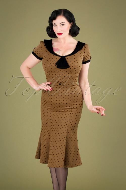 Stop Staring 31093 Pencil Dress Brown Black Polka Dot 190918 040MW