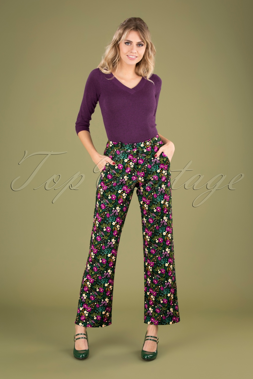 60s – 70s Pants, Jeans, Hippie, Bell Bottoms, Jumpsuits 60s Babs Baggy Trousers in Meadow Multi £77.34 AT vintagedancer.com