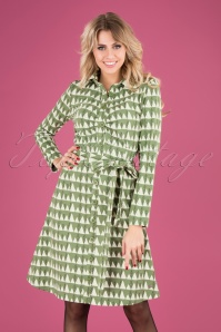 60s Winter Peaks Button Down Dress in Green