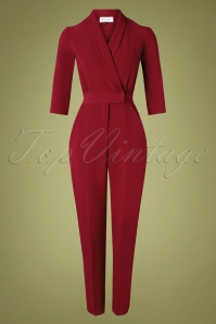 Closet London Elvine Jumpsuit Années 60 en Lie de Vin