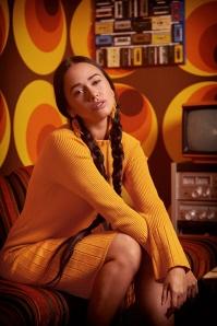 Smashed Lemon 30231 Kylie Knitted Dress in Mustard 20191023 030i