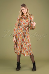 70s Moodless Floral Dress in Beige