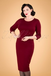Spy Wiggle Dress Années 60 en Rubis