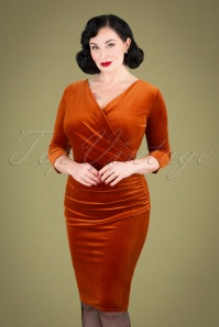 Vintage Chic 31526 Rust Velvet Pencil Dress 20190927 040MW
