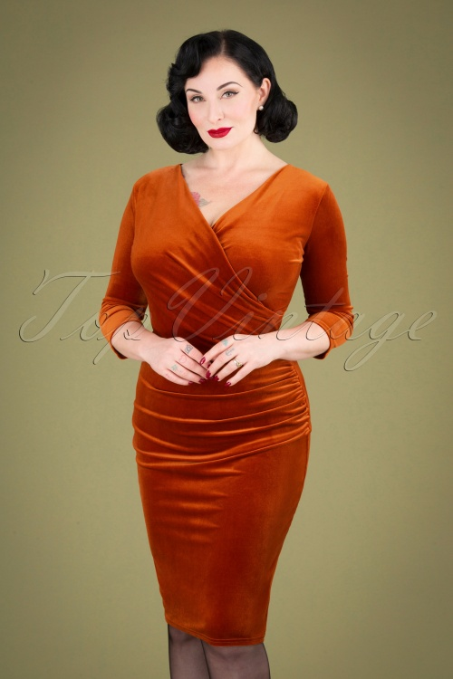 Vintage Chic 31526 Rust Velvet Pencil Dress 20190927 040MW