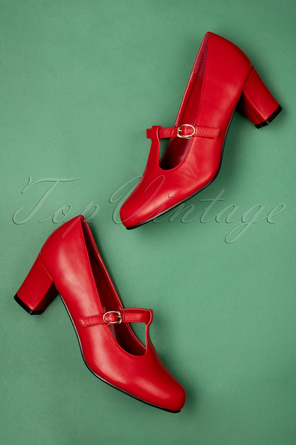 Vintage Style Shoes, Vintage Inspired Shoes 60s Giselle T-Strap Pumps in Red £38.30 AT vintagedancer.com