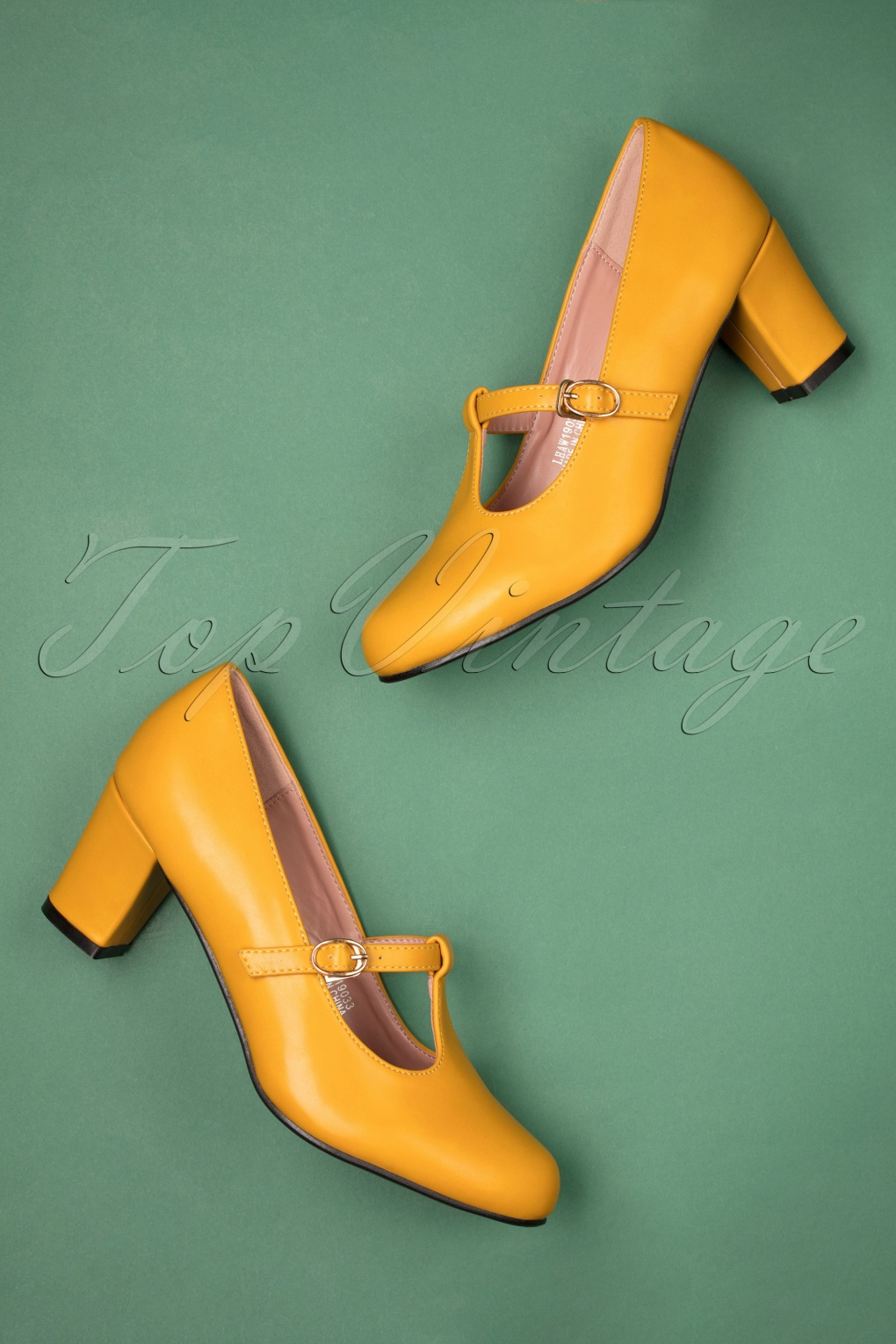 Vintage Style Shoes, Vintage Inspired Shoes 60s Giselle T-Strap Pumps in Mustard £38.30 AT vintagedancer.com