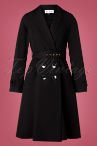 Closet London Aubrey Trench Coat Années 60 en Noir