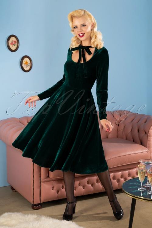 Collectif 29865 Clara Velvet Swing Dress in Green 190611 2954W