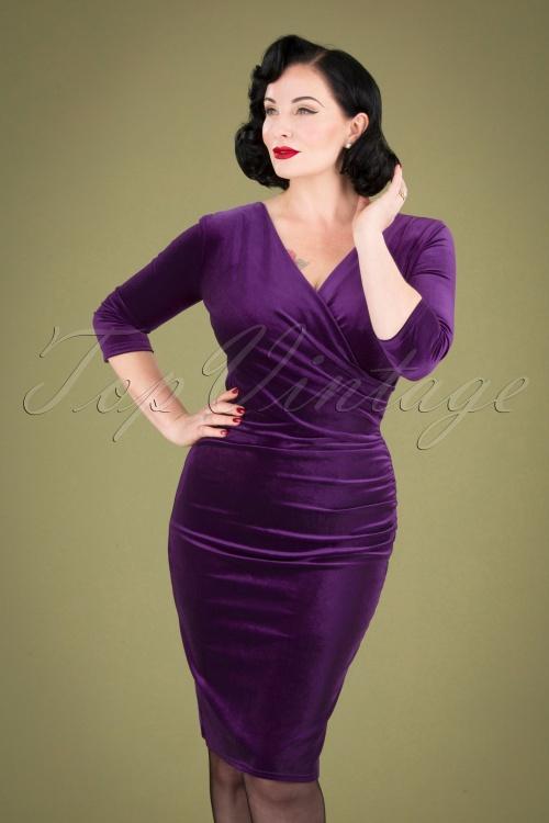 Vintage Chic 31527 Purple Velvet Pencil Dress 20190927 040MW