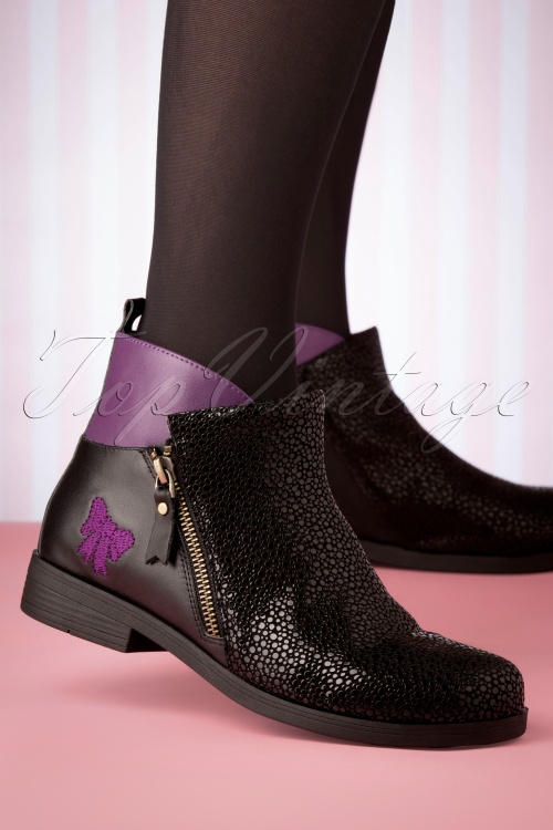 Lola Ramona 30278 Allison Shoe Purple Black Flats Boots 20191029 006 W