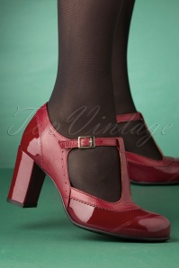60s Ada Patent Leather T-Strap Pumps in Red