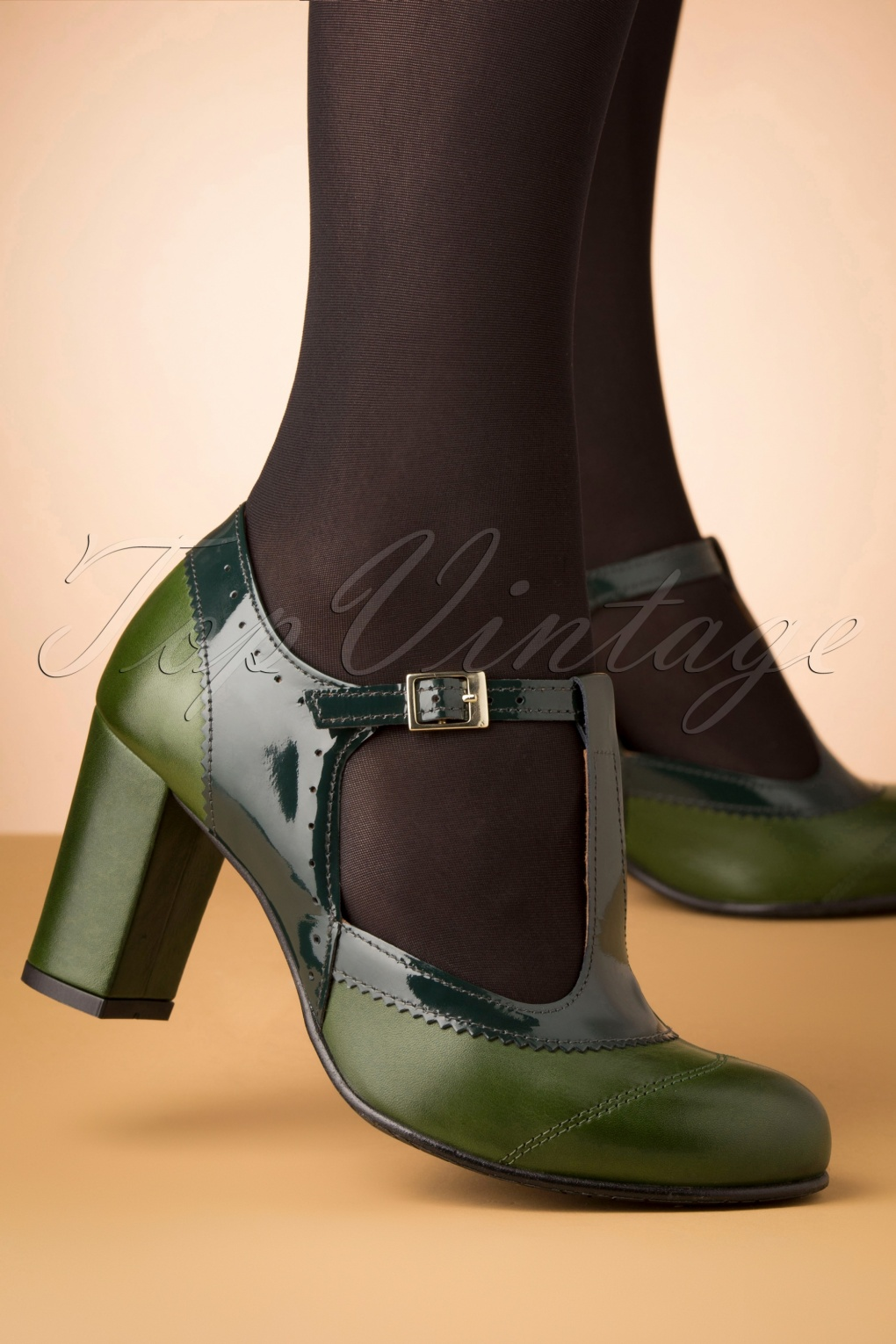 Vintage Style Shoes, Vintage Inspired Shoes 60s Ada Leather T-Strap Pumps in Green £127.78 AT vintagedancer.com