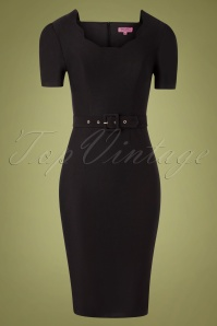 Indulgence Pencil Dress Années 50 en Noir