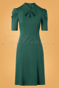40s Jezebel Pencil Dress in Forest Green