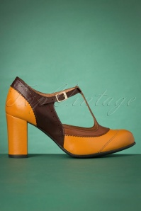 La Veintinueve Ada Leather T-Strap Pumps Années 60 en Jaune Moutarde et Brun