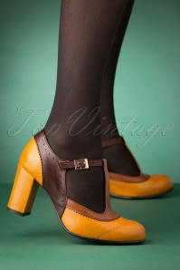 La Veintineuve 30136 Ada Mustard Brown Tstrap Patent Heels Straps 20191029 004W