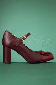 La Veintinueve 60s Penelope Mary Jane Pumps in Duotone Red