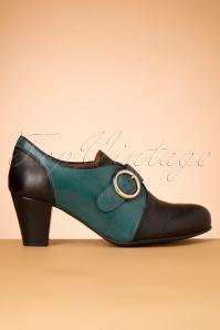 La Veintineuve 30143 Agatha Teal Black Heels 20191029 021W