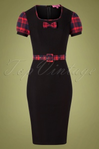 Kick It Plaid Dress Années 50 en Noir