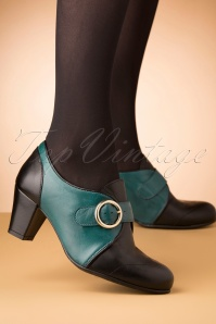 La Veintinueve 40s Agatha Leather Shoe Booties in Black and Teal