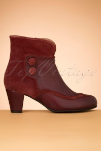La Veintinueve Olga Leather Ankle Booties Années 60 en Rouge Duotone