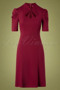 40s Jezebel Pencil Dress in Wine
