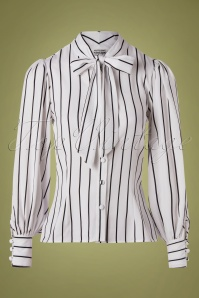 Unique Vintage 29955 Blouse Gwen White Stripes 10302019 002W