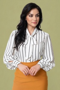 Unique Vintage 40s Gwen Striped Blouse in White and Black