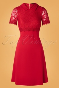 60s Maria Lace Day Dress in Red