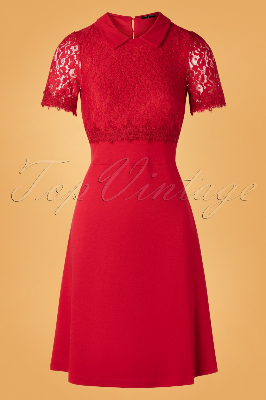 1960s Cocktail, Party, Prom, Evening Dresses 60s Maria Lace Day Dress in Red £77.13 AT vintagedancer.com