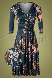 Vintage Chic for TopVintage 50s Caryl Floral Swing Dress in Petrol Blue