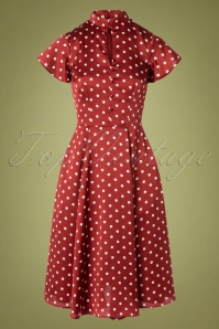 Unique Vintage 29956 Swingdress Baltimore Red Polkadots 10302019 004W