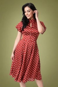 Unique Vintage 40s Baltimore Dotted Satin Swing Dress in Burgundy