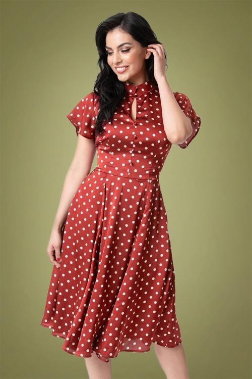 Unique Vintage 29956 Baltimore Dress in Burgundy Dot 20191030 020LW